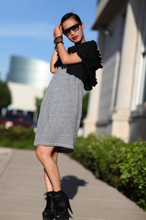 gray T Alexander Wang dress - black Fendi booties shoes