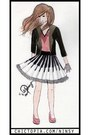 Black-blazer-black-lace-piano-skirt-pink-v-neck-blouse-black-lace-gloves-