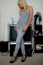 gray American Apparel top - gray Cheap Monday jeans - Nine West shoes