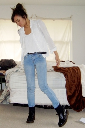 white American Apparel top - white H&M shirt - blue Cheap Monday jeans - black b