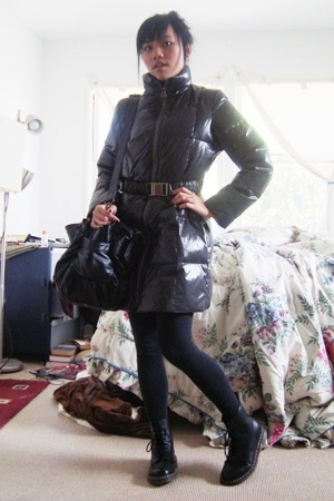 gray Michael Kors coat - black Forever 21 leggings - black Doc Marten boots - bl