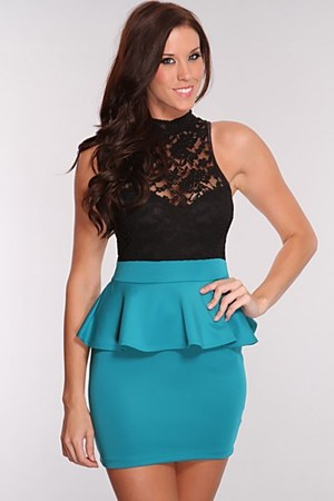 black mesh dress - teal peplum dress