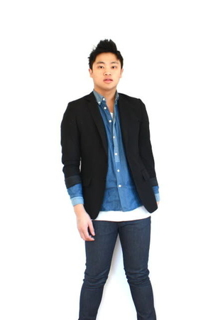 black H&M blazer - blue acne shirt - blue april 77 jeans