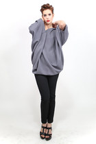 Winter tunic top in a fine, soft grey crepe wool.