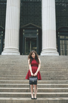 leather vintage Coach bag bag - Urban Outfitters dress