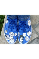 blue handmade sneakers