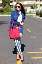 navy Zara shoes - navy Retro jacket - white Oviesse shirt - red Guess bag