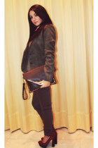 dark brown jeans - tawny shoes - light brown jacket - dark brown bag
