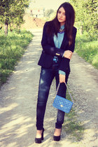 pull&bear shirt - Tata shoes - Zara jeans - Zara blazer - Tally Weijl bag