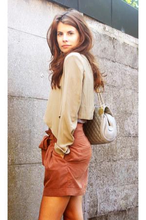 bronze brown H&M shorts - dark khaki short jacket H&M jacket