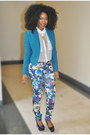 Black-shoes-teal-blazer-ivory-blouse-teal-pants