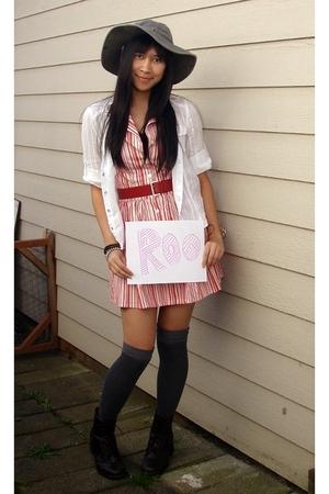 gray LL Bean hat - white Forever 21 shirt - pink speechless dress - red thrifted