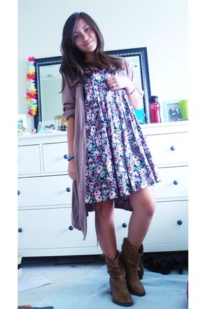 brown Gap Intimates cardigan - black Thrift Store dress - brown Macys shoes