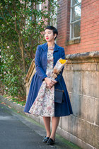 blue vintage coat - white Mimi Wears Vintage dress
