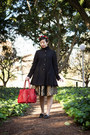 Tan-vintage-dress-black-asos-coat-red-avalina-leather-bag