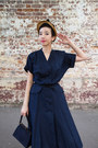 Navy-vintage-dress-bronze-1950s-straw-hat-vintage-hat
