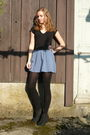 Blue-forever-21-skirt-black-bata-shoes-black-coop-city-leggings-black-new-