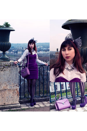 Tommy Hilfiger shirt - purple tulip H&M dress - girly body tote asos bag