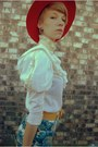 Blue-shorts-ruby-red-hat-yellow-belt-cream-blouse