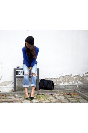 black Urban Outfitters hat - sky blue Topshop jeans - navy SANDRO sweater