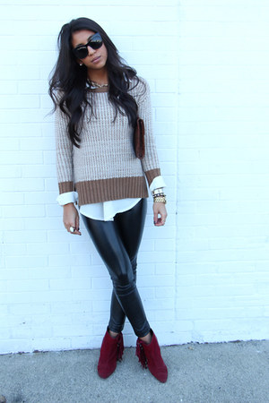 light brown Zara sweater - brick red fringe booties blush boots