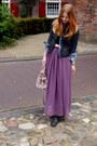 Puce-maxi-romwe-skirt-dark-gray-stdded-boots-dark-gray-denim-zara-jacket