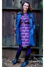 Purple-80s-vintage-dress-blue-leather-vintage-jacket