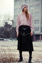 black vintage skirt - light pink vintage blouse