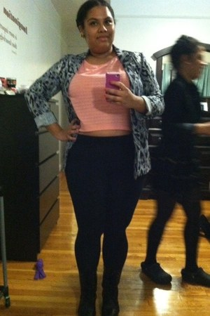 black JCPenney leggings - Kmart boots - H&amp;M blazer - coral crop top H&amp;M top