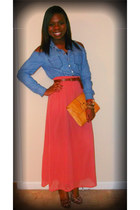 salmon Forever 21 skirt - brown H&M belt - blue Forever 21 top