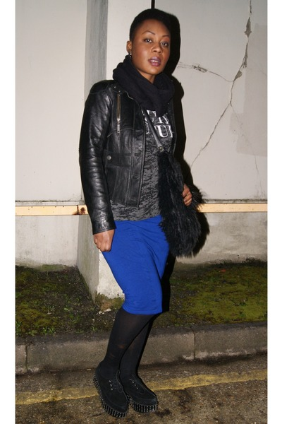 blue pencil asos skirt - black leather River Island jacket