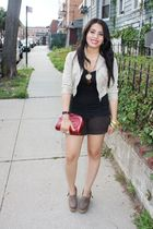 beige jacket - brown shorts - black t-shirt