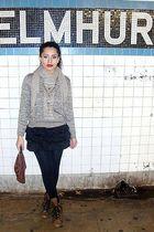 black skirt - black leggings - brown purse - black boots - gray sweater
