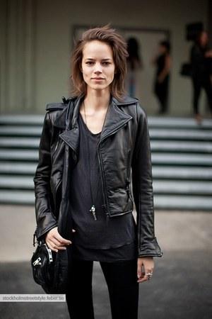 black leather unknown jacket