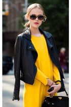 yellow dress - black jacket