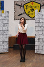 Black-h-m-boots-white-h-m-blouse-crimson-h-m-necklace