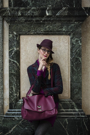 zanellatp bag - maroon Borsalino hat - Tiffany & Co necklace