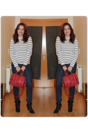 navy Primark jeans - black Seaside boots - white H&M shirt