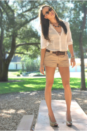 cream Forever 21 blouse - camel Express shorts - tan Charlotte Russe top