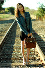 Black-forever-21-dress-xoxo-jacket-brown-aldo-bag-beige-steve-ma-heels