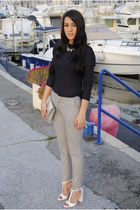 Zara sandals - vintage bag - Zara pants - MaxMara blouse - H&M accessories