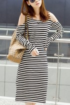 Exposed Shoulder Striped Calf length Dress