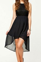 Black Lace High-low Evening Dress