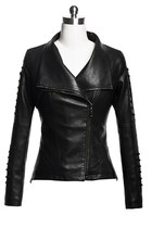 Double-layer Collar Lace-up Long Sleeve Biker Jacket