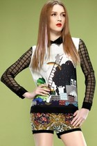 Cartoon High-low Chiffon Blouse