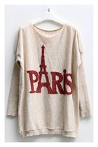Batwing Sleeves Jumper with Paris Eiffel Tower Print