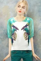 Parrot High-low Chiffon Blouse