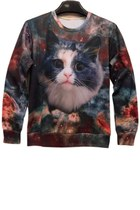 Casual Day Wear Lovely Relaxed Cat Sweatshirt