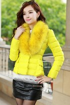Charming Yellow Faux Fur Collar Skinny Padded Jacket