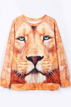 Casual Lion Animal Print Sweatshirt